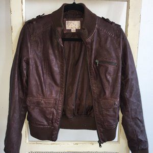Xhilaration Brown Faux Leather Bomber Jacket